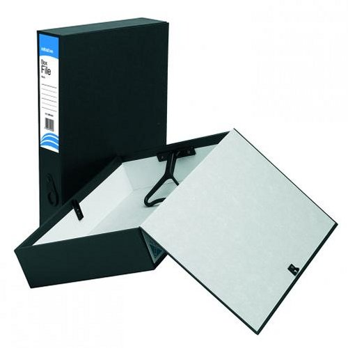 Initiative Lockspring Box Files Foolscap 70mm Capacity Black [Pack of 10]