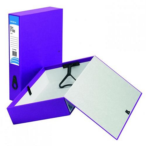 Initiative Lockspring Box Files Foolscap 70mm Capacity Purple [Pack of 10]