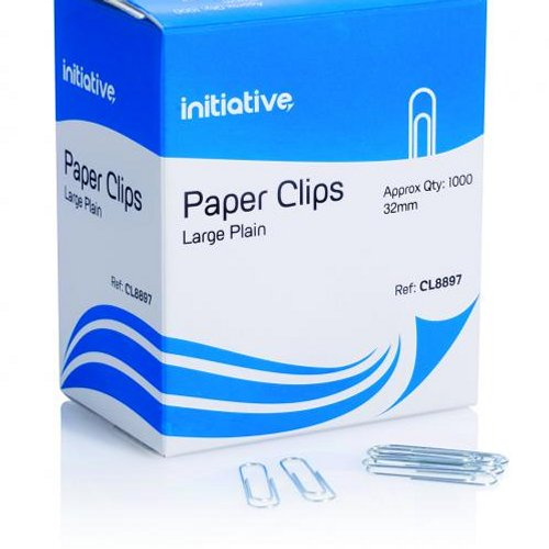 Initiative Paperclips Large Plain 32mm [Pack of 1000]
