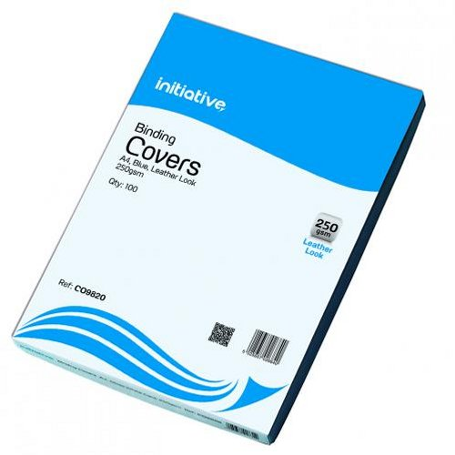 Initiative Leather Look Binding Covers A4 Blue [Pack of 100]