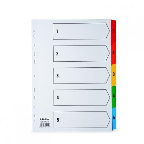 Initiative A4 Index 1-5 Coloured Mylar Tabs