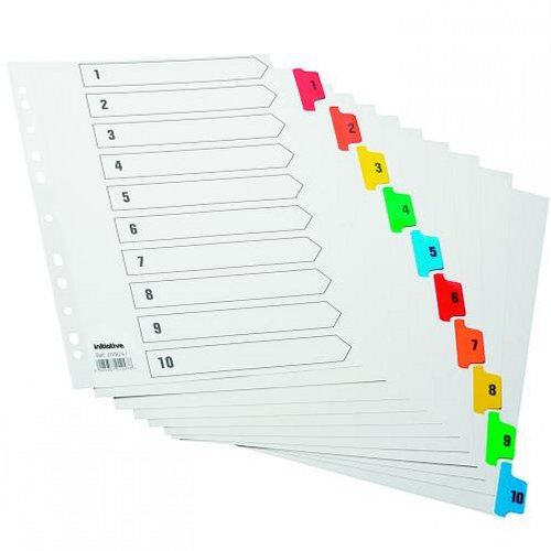 Initiative A4 Index 1-10 Coloured Mylar Tabs