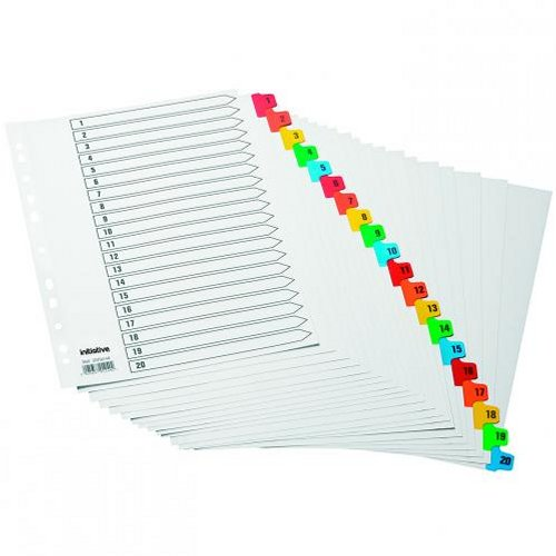 Initiative A4 Index 1-20 Coloured Mylar Tabs
