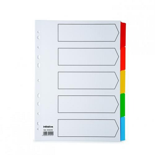 Initiative A4 Divider 5 Part Coloured Mylar Tabs