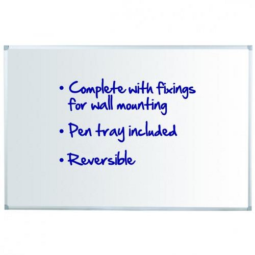 Initiative Reversible Drywipe Board with Pen Tray 1800x1200mm