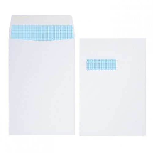 Initiative C4 Gusset Envelopes Window Pocket Peel and Seal 140g White [Pack of 125]