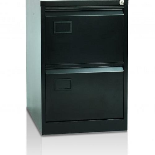 Initiative Steel Filing Cabinet 2 Drawer Black
