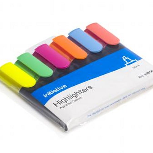 Initiative Water Based Highlighter Wedge Tip Assorted [Wallet of 6]