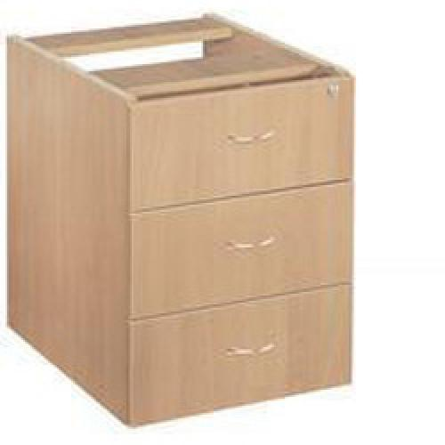 Jemini 3 Drawer Fixed Pedestal Beech