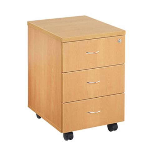 Jemini 3 Drawer Mobile Pedestal Beech