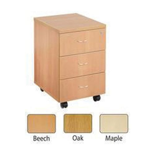 Jemini 3 Drawer Mobile Pedestal Oak