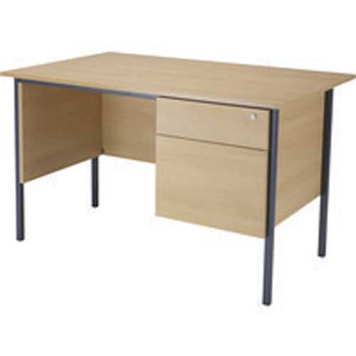 Jemini 1200mm 4 Leg Desk with 2 Drawer Pedestal Oak