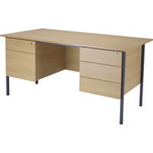 Jemini 1500mm 4 Leg with Double Pedestal Desk Oak