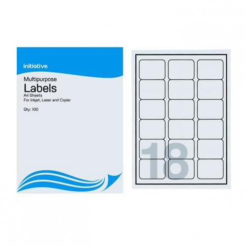 Initiative Multipurpose Labels 63.5x46.6mm 18/Sheet [Pack of 100]