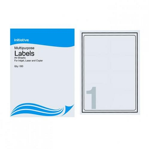 Initiative Multipurpose Labels 199.6x289.1mm 1/Sheet [Pack of 100]