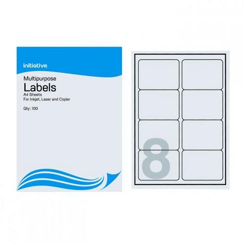 Initiative Multipurpose Labels 99.1x67.7mm 8/Sheet [Pack of 100]