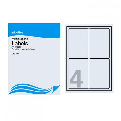 Initiative Multipurpose Labels 99.1x139mm 4/Sheet [Pack of 100]