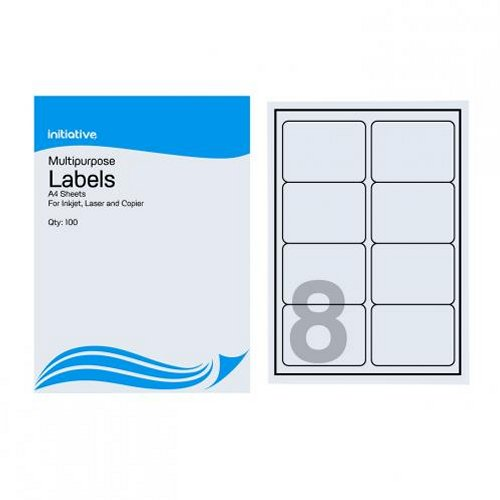 Initiative Multipurpose Labels 99.1x67.7mm 8/Sheet [Pack of 500]