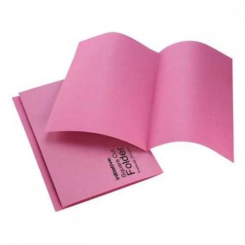 Initiative Square Cut Folders Mediumweight Foolscap Pink [Pack of 100]