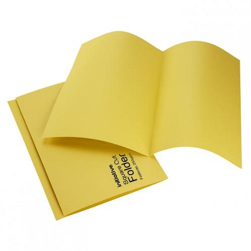 Initiative Square Cut Folders Mediumweight Foolscap Yellow [Pack of 100]
