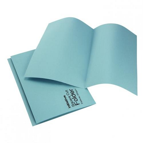 Initiative Square Cut Folders Mediumweight Foolscap Blue [Pack of 100]