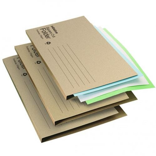 Initiative Economy Kraft Square Cut Folders Foolscap Buff [Pack of 100]