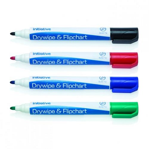 Initiative Drywipe and Flipchart Marker Assorted [Wallet of 4]