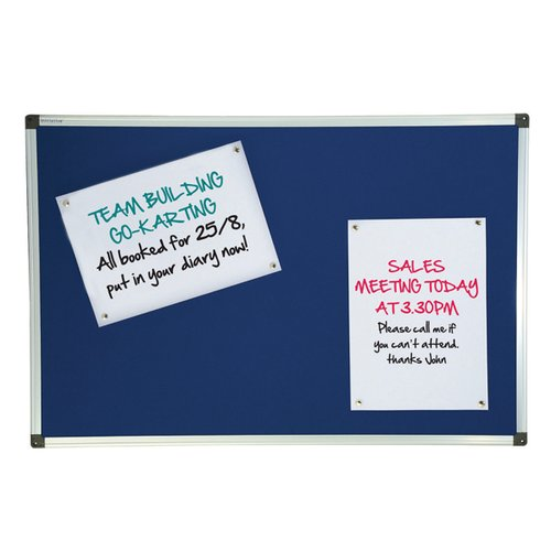 Initiative Noticeboard 900x600mm Aluminium Frame Blue
