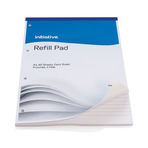 Initiative Refill Pad A4 Feint Ruled and Punched [Pack of 10]