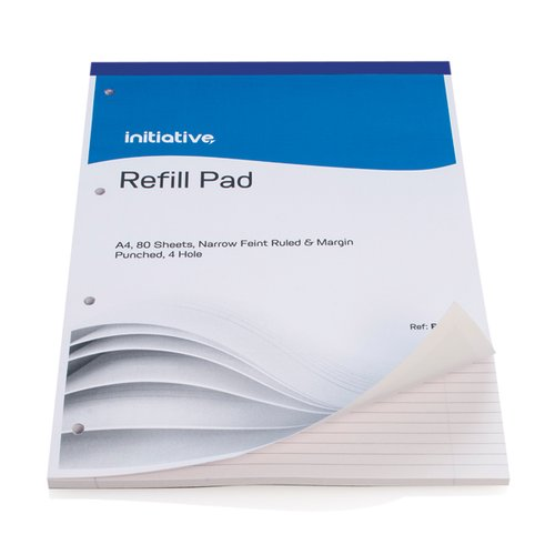Initiative Refill Pad A4 Feint Ruled Margin and 4 Hole Punched [Pack of 10]