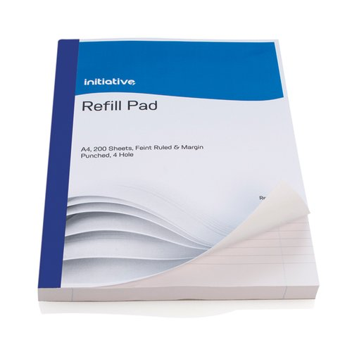 Initiative Refill Pad A4 Feint Ruled Margin and 4 Hole Punched 400 Pages [Pack of 5]