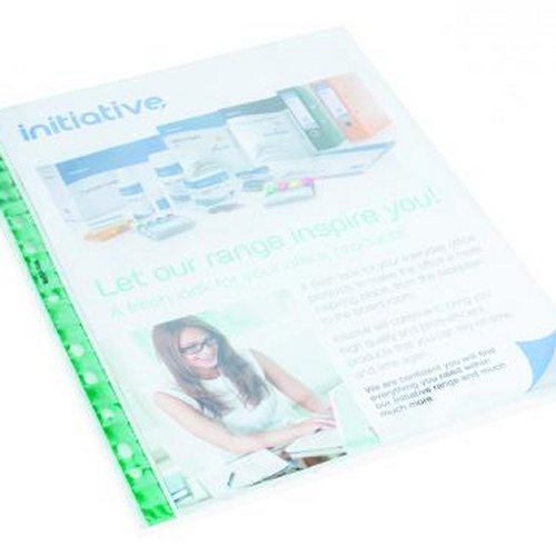 Initiative A4 Glass Clear Reinforced Punched Pockets [Pack of 100]
