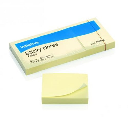 Initiative Sticky Notes 38x51mm Yellow [Pack of 12]