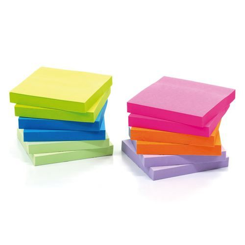 Initiative Sticky Notes Neon 76x76mm [Pack of 12]