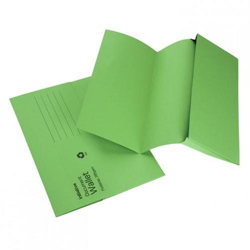 Initiative Document Wallet Foolscap Mediumweight Green [Pack of 50]