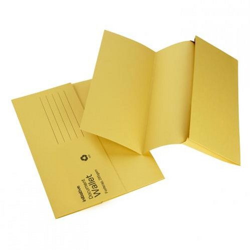 Initiative Document Wallet Foolscap Mediumweight Yellow [Pack of 50]