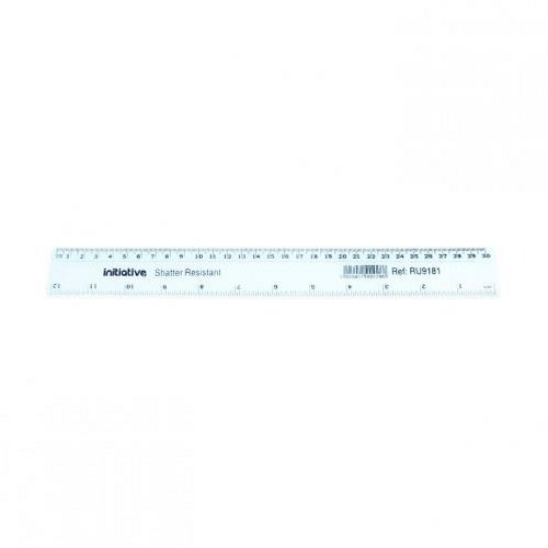 Initiative Shatter Resistant Plastic Ruler 30cm [Pack of 20]