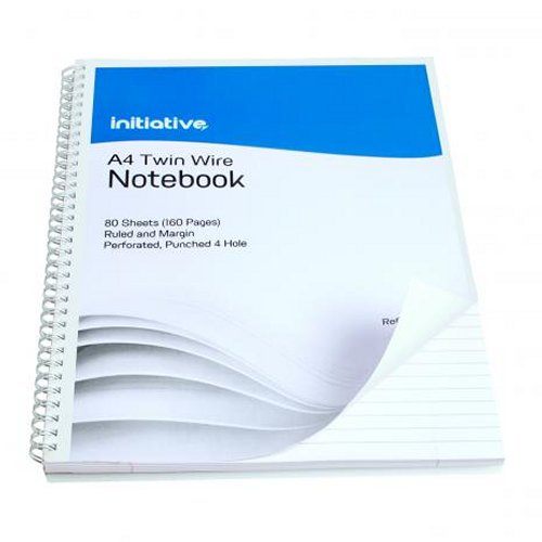 Initiative Twinwire Notebook A4+ Ruled Margin and Perforated [Pack of 5]
