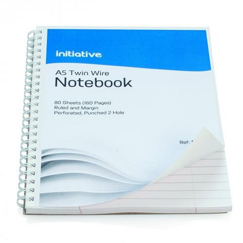 Initiative Twinwire Notebook A5+ Ruled Margin and Perforated [Pack of 5]