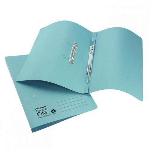 Initiative Transfer Spring File Foolscap Blue [Pack of 50]