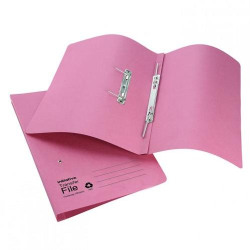 Initiative Transfer Spring File Foolscap Pink [Pack of 50]