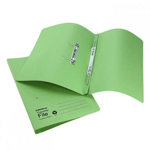 Initiative Transfer Spring File Foolscap Green [Pack of 50]