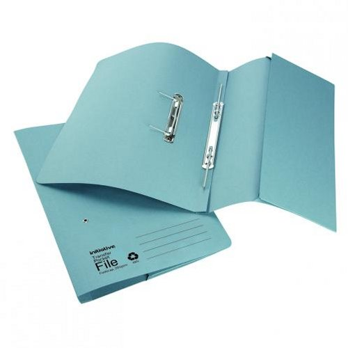 Initiative Transfer Spring File with Pocket Foolscap Blue [Pack of 25]