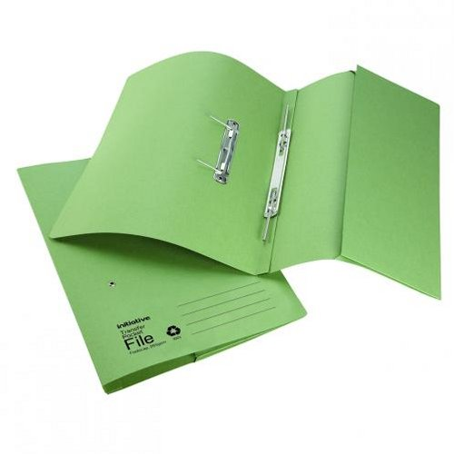 Initiative Transfer Spring File with Pocket Foolscap Green [Pack of 25]