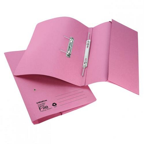 Initiative Transfer Spring File with Pocket Foolscap Pink [Pack of 25]