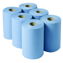 2Work Centrefeed Roll 3-Ply Blue 135m [Pack of 6]