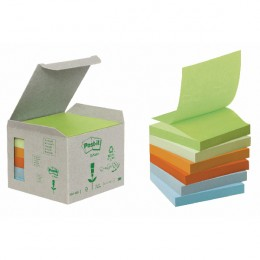 Post-It Recycled Z-Notes 76x76 Yellow [Pack of 6]