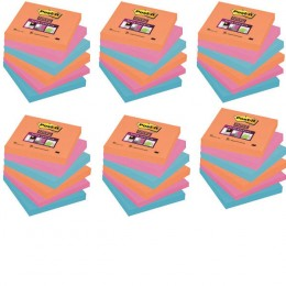 Post-It Super Sticky Notes Electric Glow 76x76mm Assorted [Pack of 6]