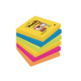 Post-it Super Sticky 76x76mm Rio Assorted [Pack of 6]