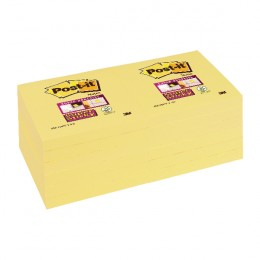 Post-It Super Sticky Canary Yellow 76x76mm [Pack of 12]